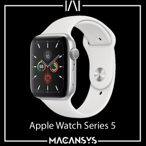 Apple Watch Series 5 Silver Aluminium Case with White Sport Band 44MM Cellular 174334762509
